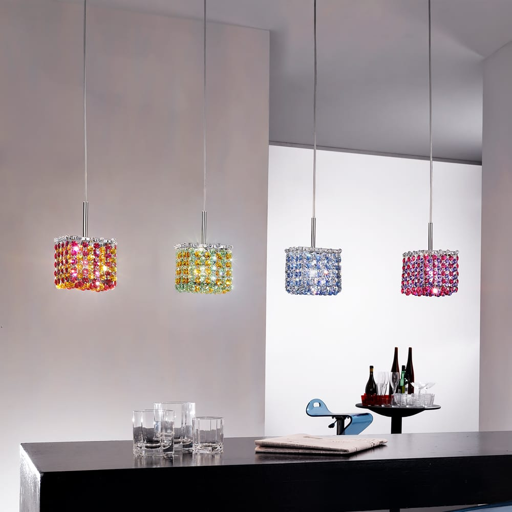 small square multi coloured swarovski crystal finish pendant light