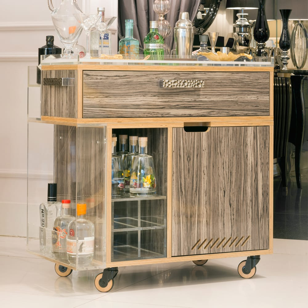 statement furniture, gin trolley on wheels, high gloss wood veneer finish