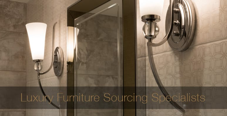 Furniture Sourcing Specialists, two bathroom wall lamps, curved chrome with white shade