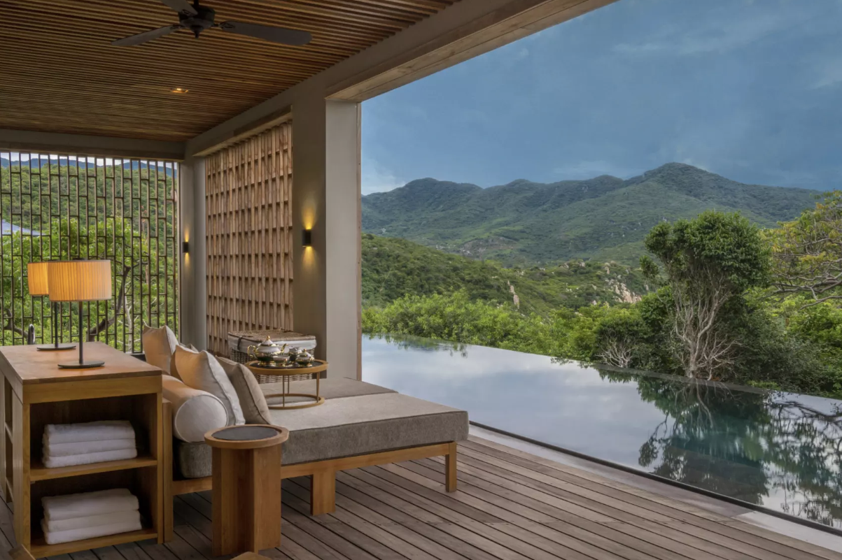 Vietnam, wellness, spa break in the mountains, infinity pool and treatment area