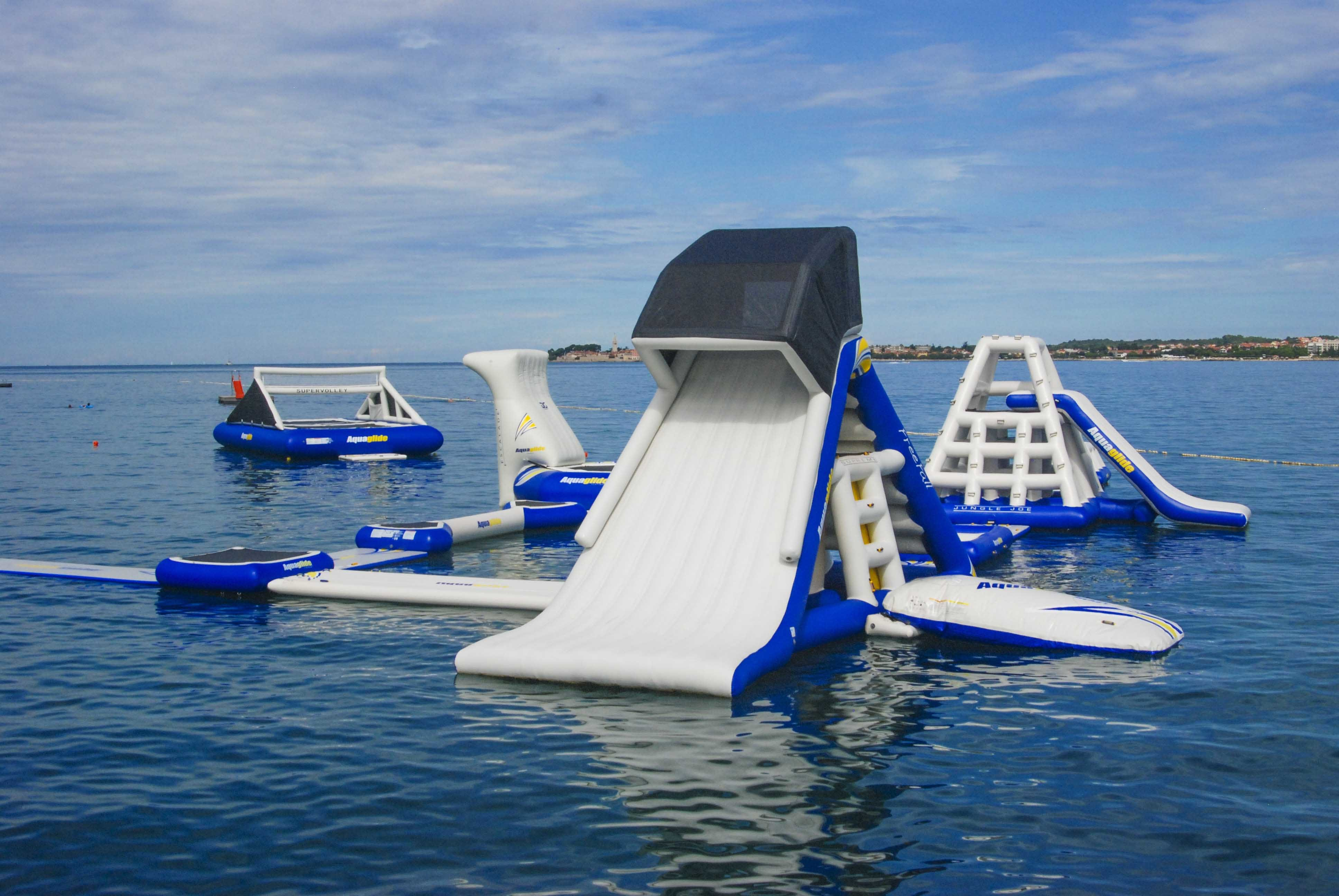 Yacht toys, aquapark including slide, obstacles and volleyball