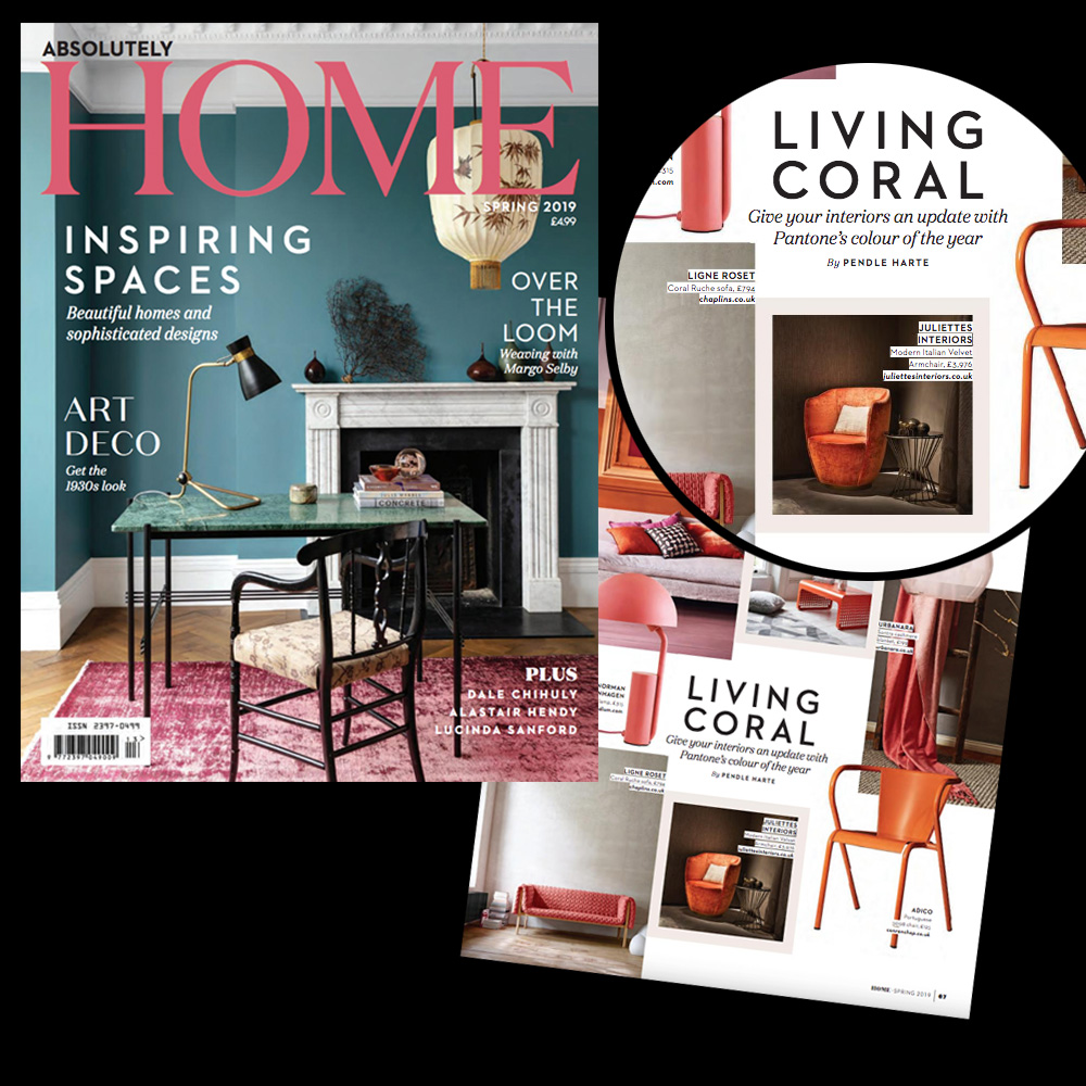 As seen in Absolutely Home magazine, burnt orange luxury armchair