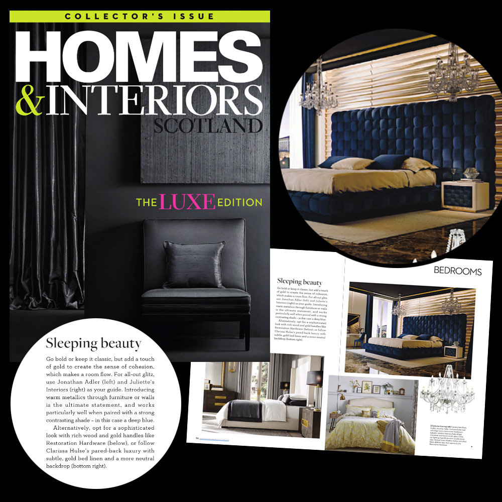 As seen in Homes and Interiors magazine, luxury blue bed