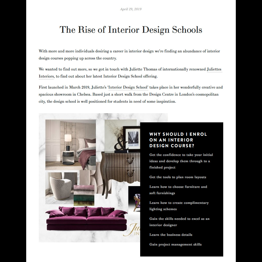 As seen in LIV for Interiors blog post, why sign up for an interior design course