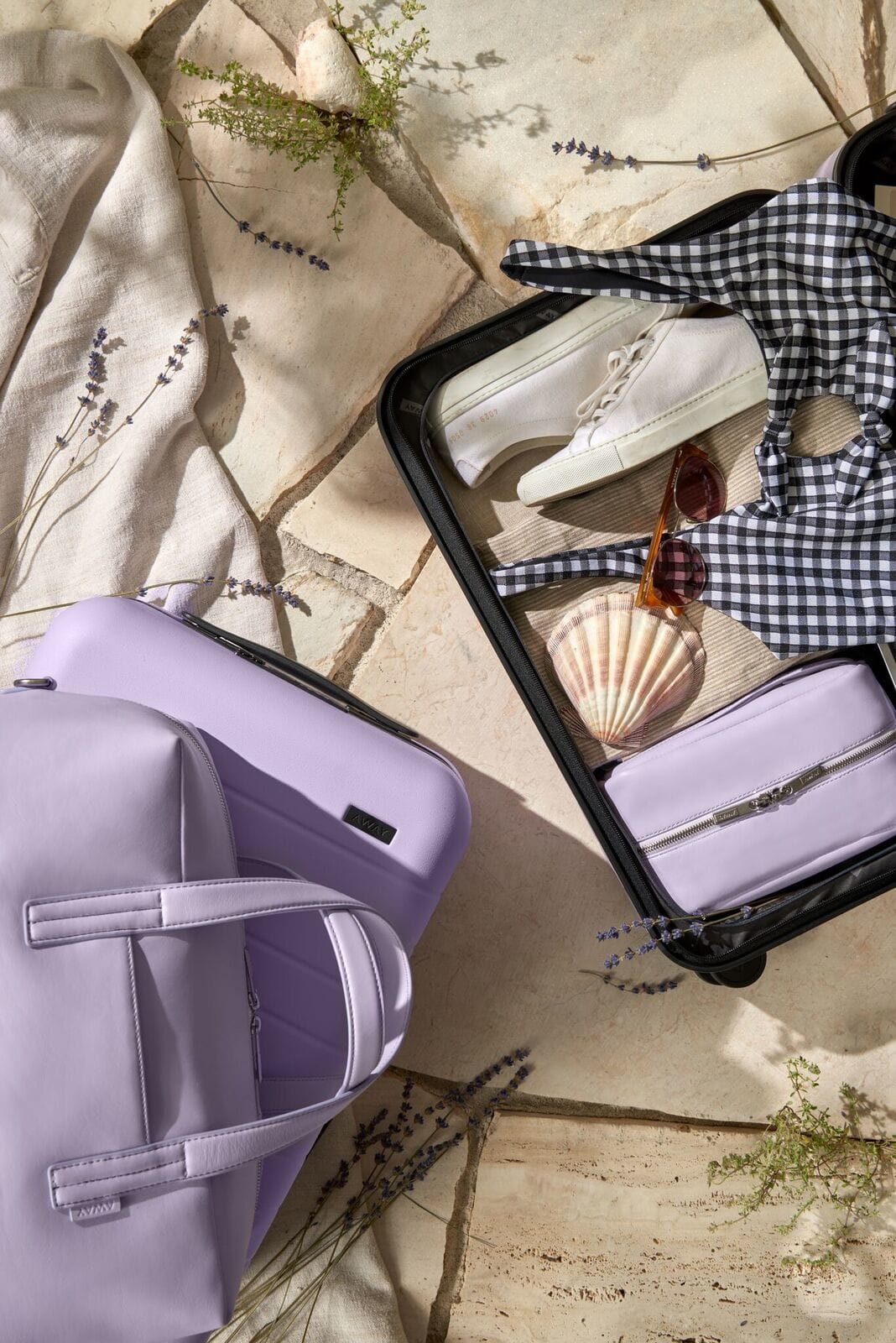 Packing holiday items in a small carry on suitcase with accessories