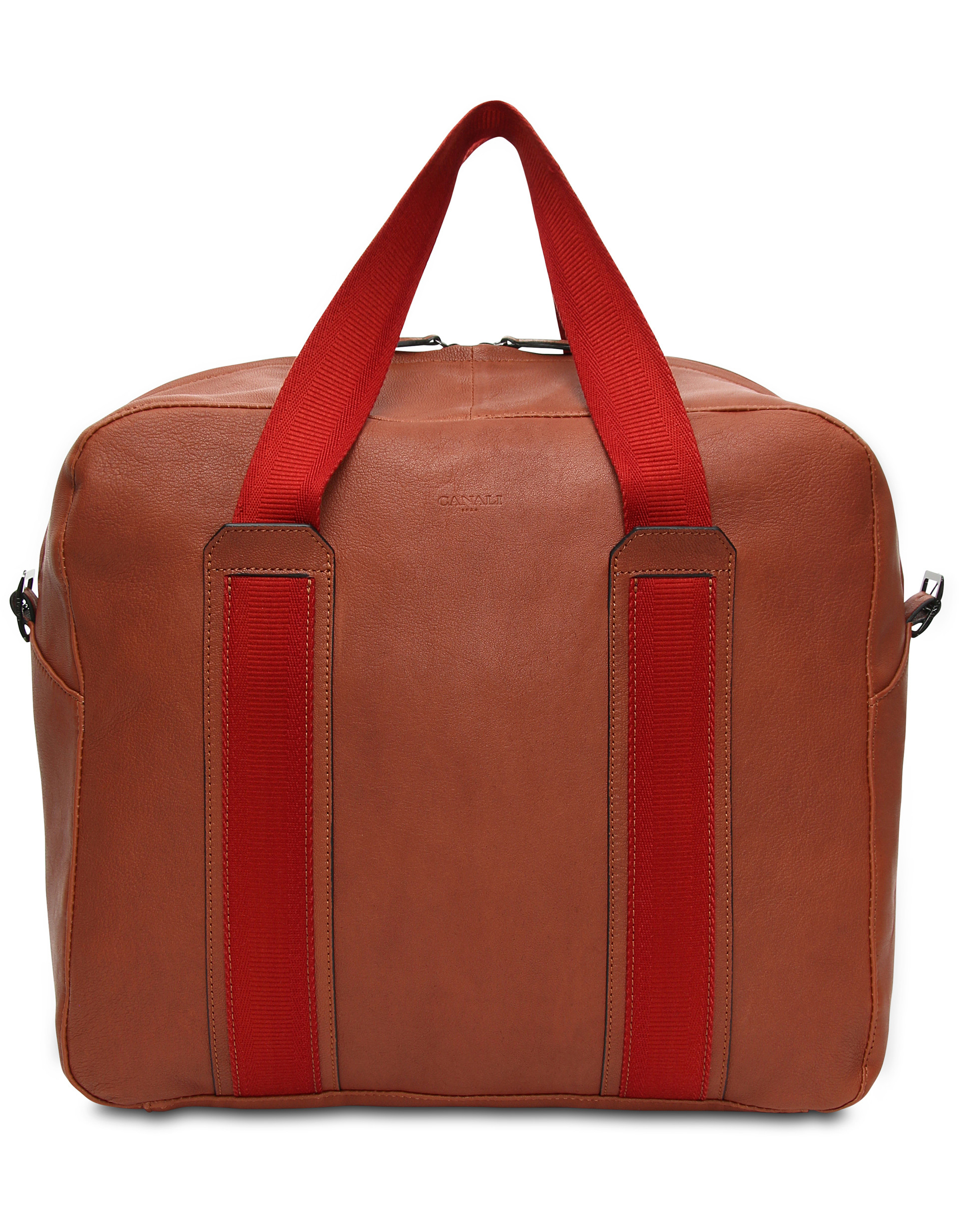 fathers day gift, Canali overnight bag, terracotta with red straps