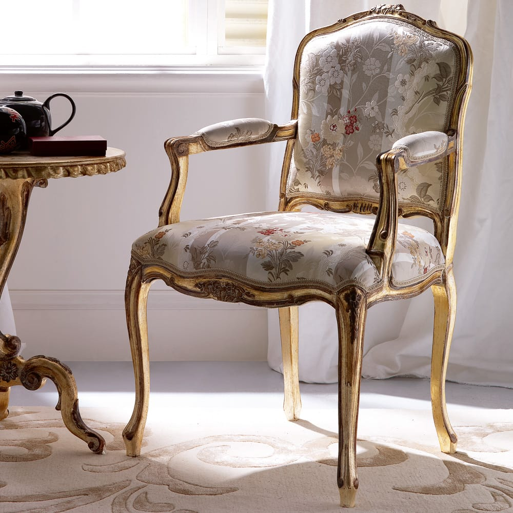 Florence Collection, ornate occasional armchair, floral silk upholstery