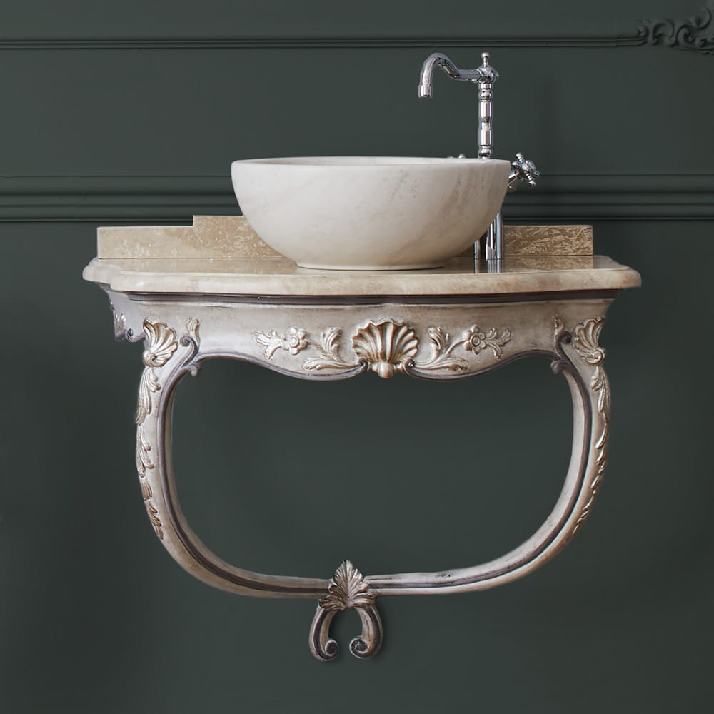 Florence Collection, wall mounted ornate vanity unit with marble top and basin