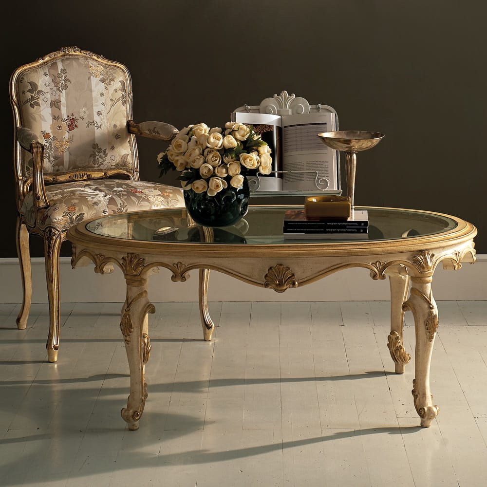 Florence Collection, oval glass coffee table, ornate, ivory and gold