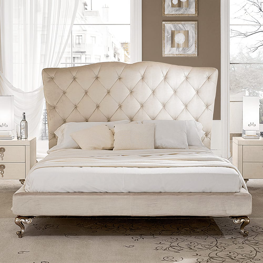 Chelsea Collection, leather upholstered low bed, rococo feet