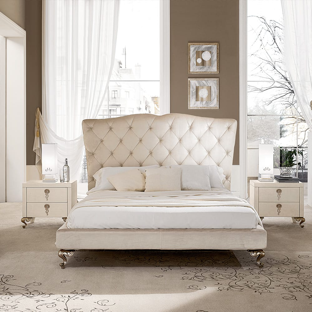 statement furniture, classic stye bed, tall ivory upholstered headboard, button upholstered
