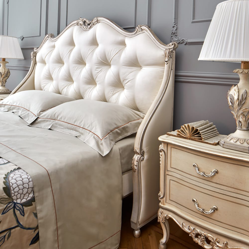 Florence Collection, winged bed, silk upholstered headboard in ivory with scrolls