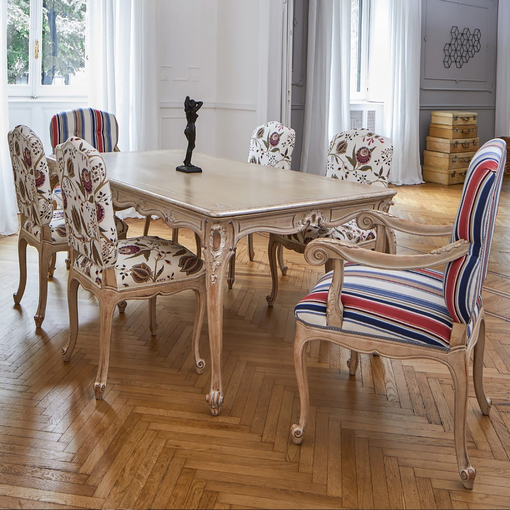 Classic Italian designer dining table six chairs floral and striped fabric bespoke options