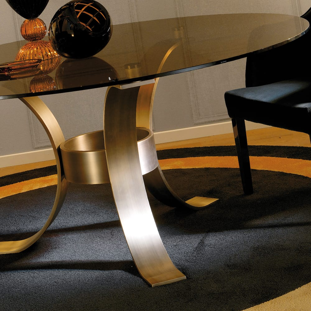 dining table brushed brass smoked glass finish