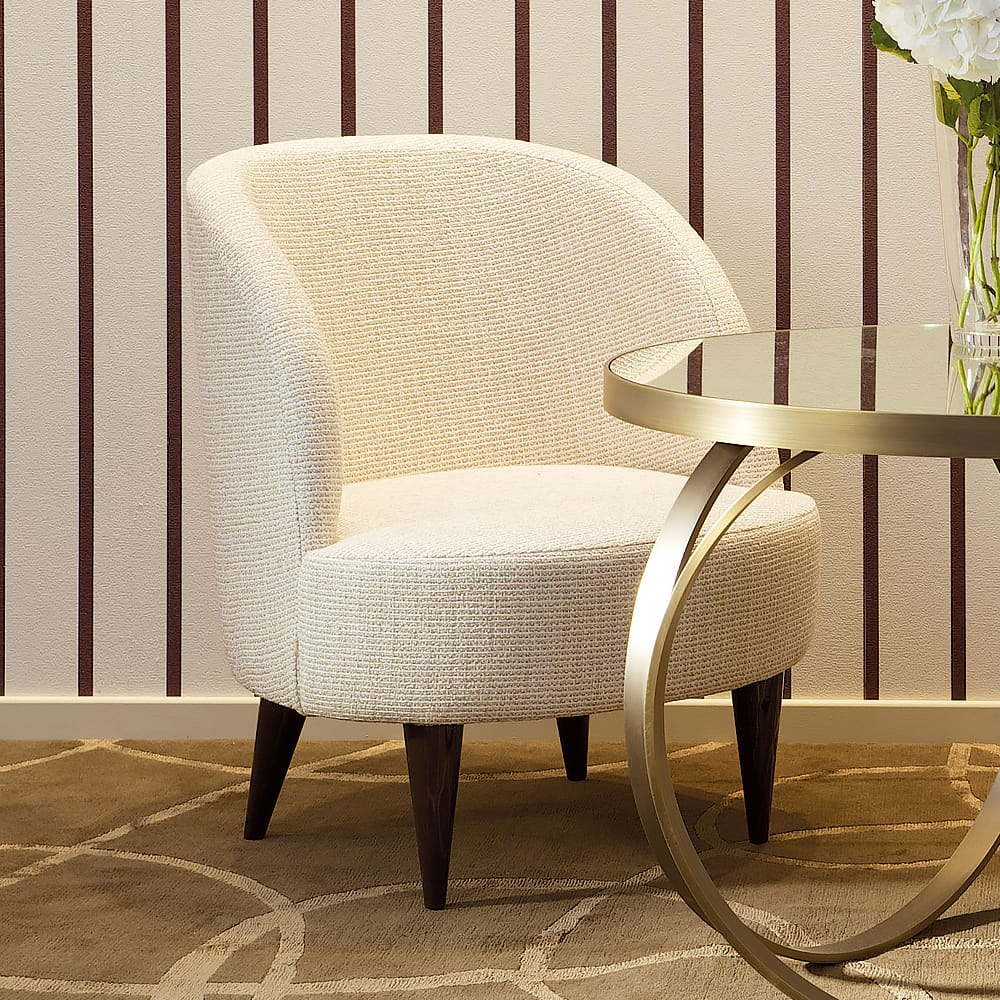 Contemporary Curved cotton fabric Armchair