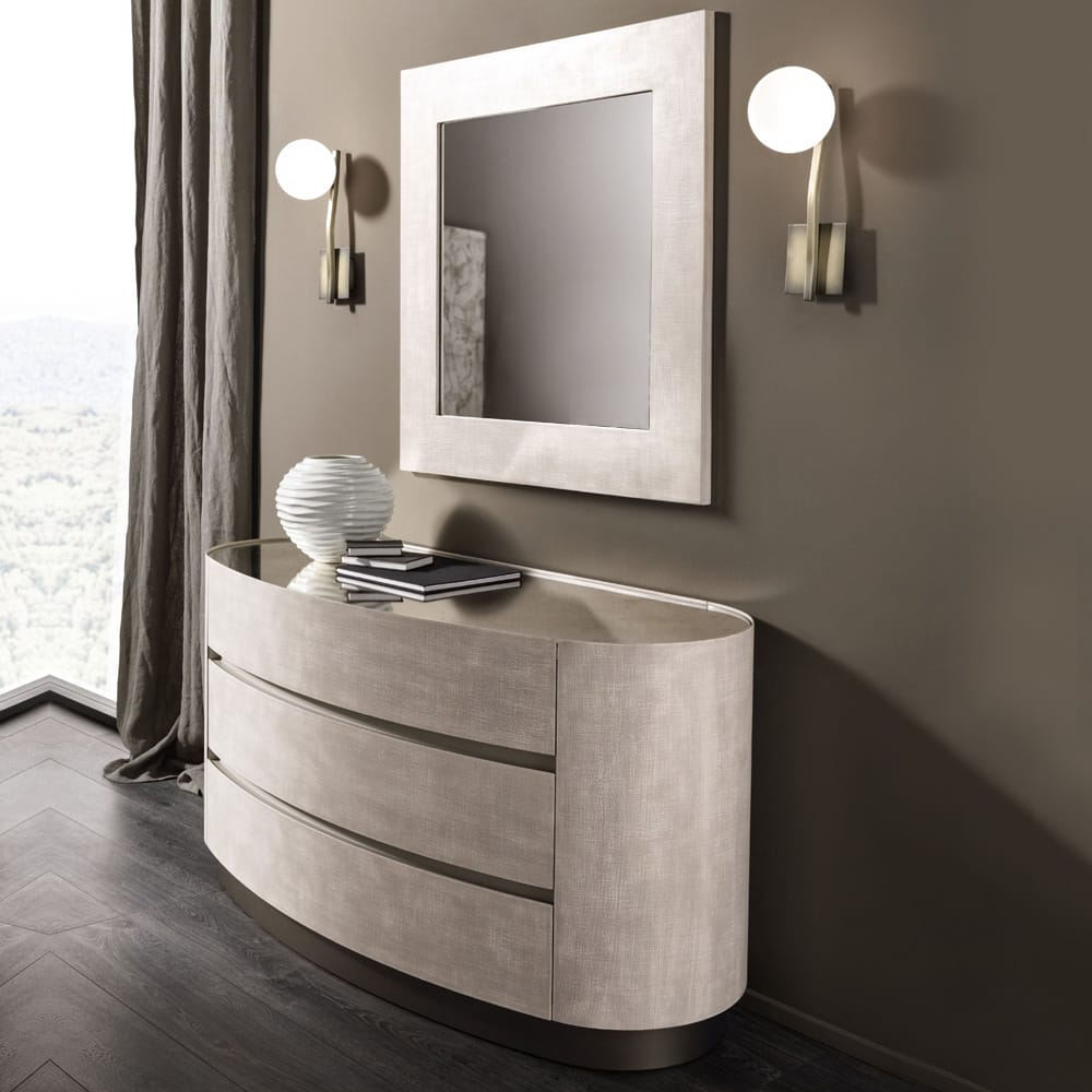 Impress the guests, contemporary oval chest of drawers