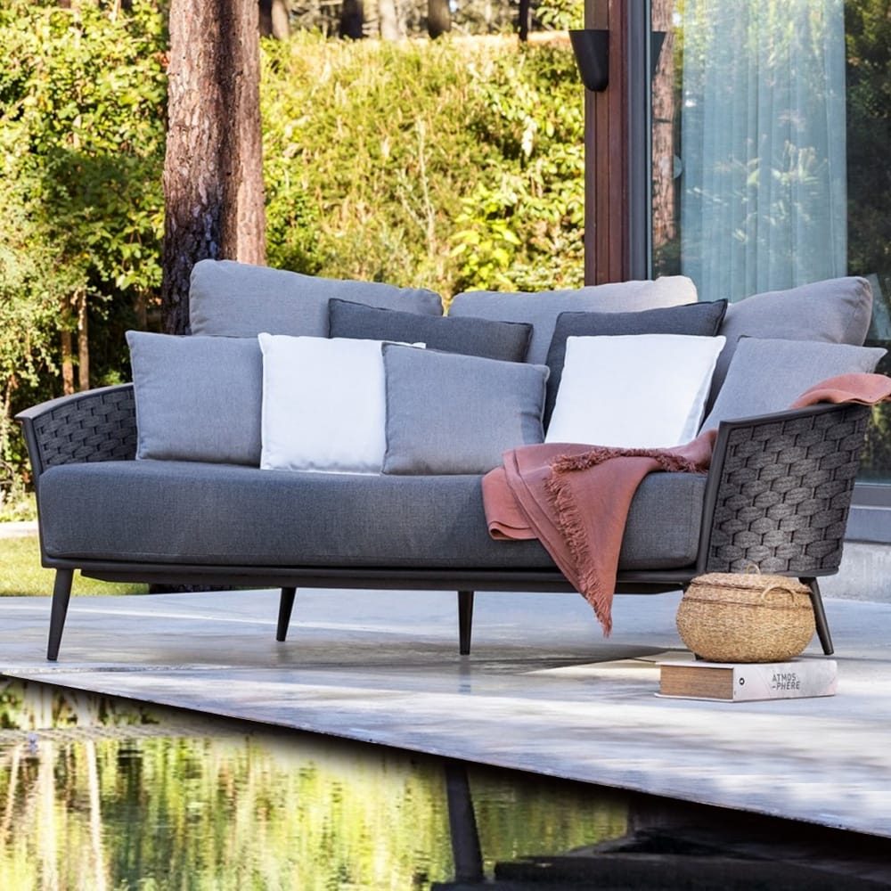 outdoor furniture, contemporary daybed, grey woven rope outer, grey and lilac cushions