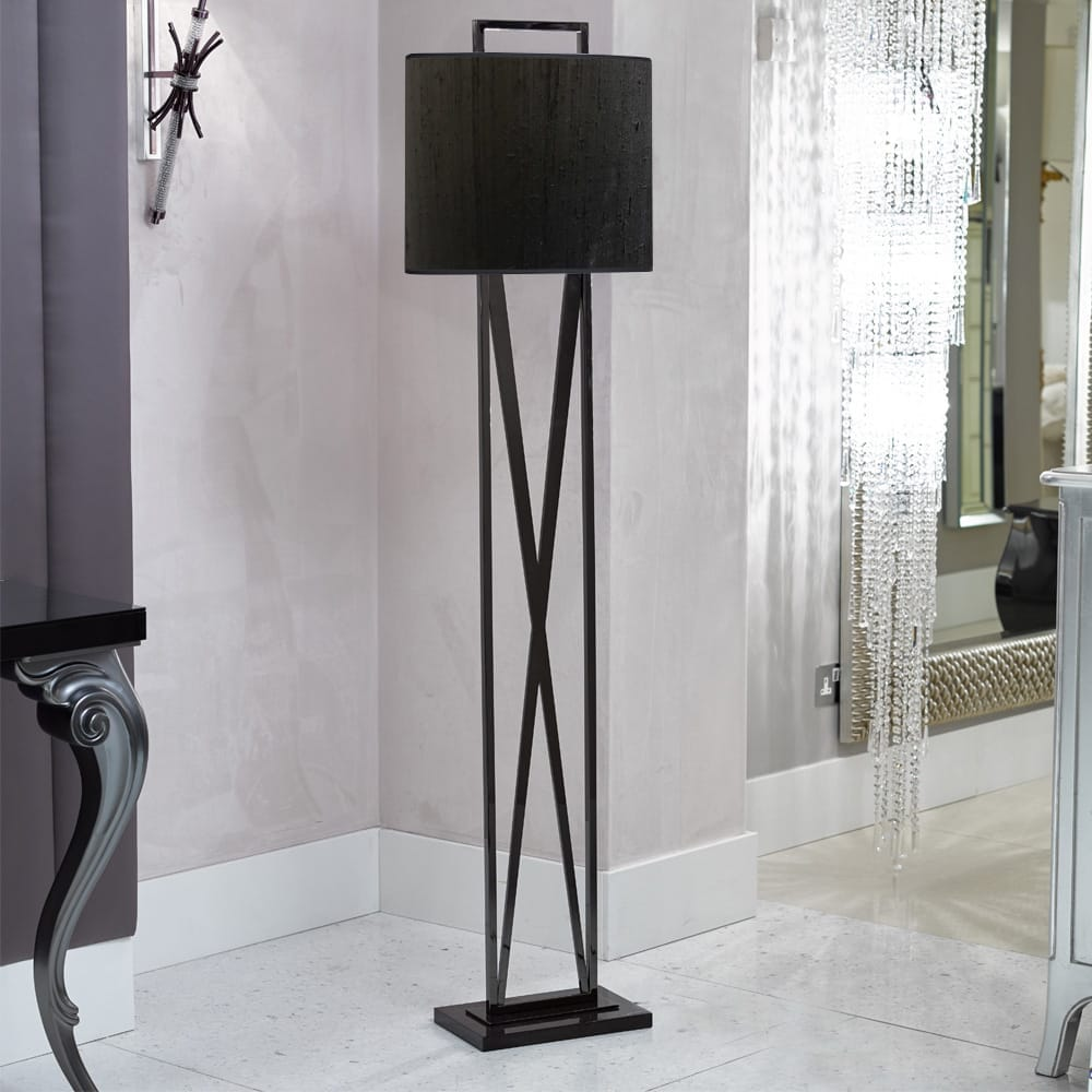 ex display, contemporary floor lamp, geometric cross x shape base, black shade