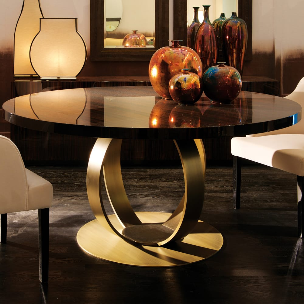 Halloween decor, high gloss round table with bronzed ring base
