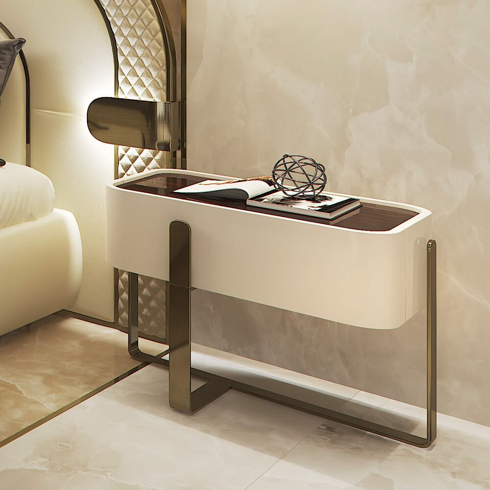 new arrivals, contemporary lacquered bedside table with brush bronze legs