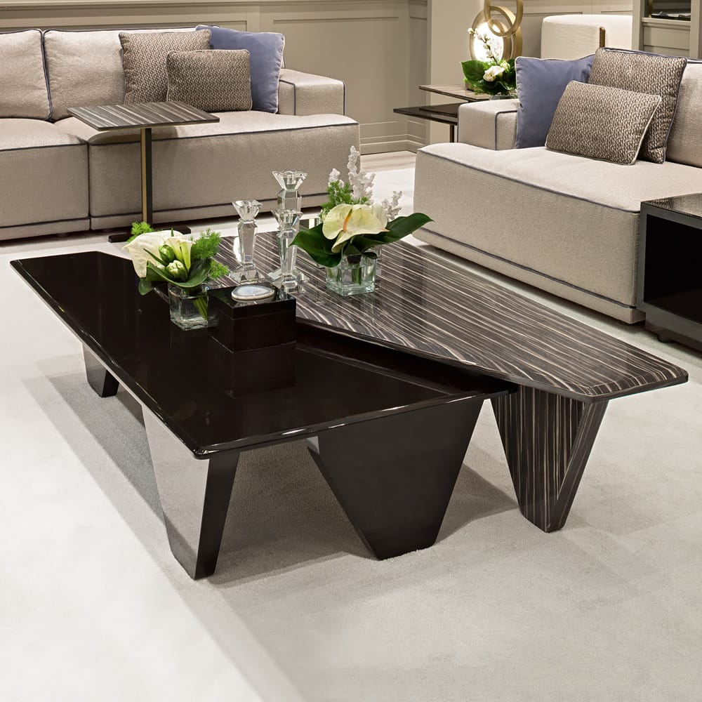 high gloss black lacquer and wood veneer finish coffee table