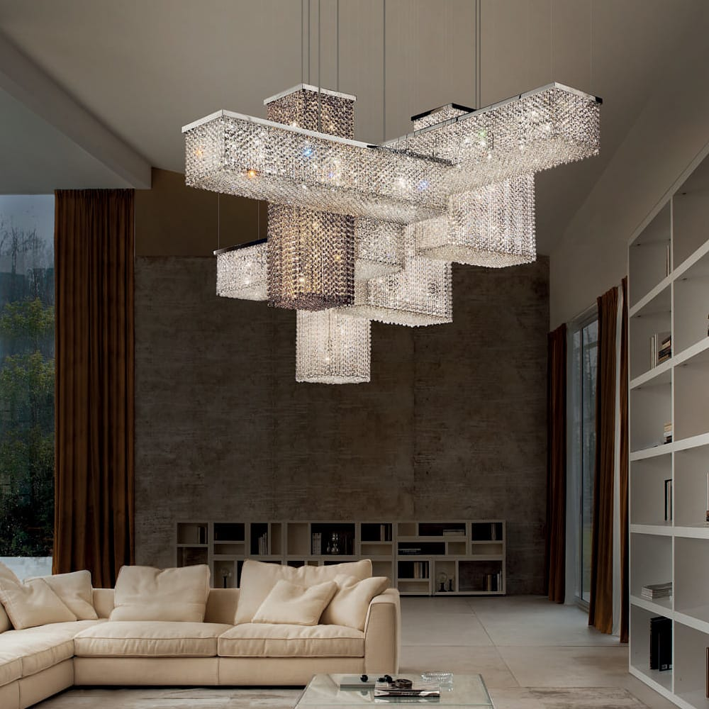 Very large modular chandelier, rectangular modules, with swarovski crystals, clear and mocha, autumn arrivals