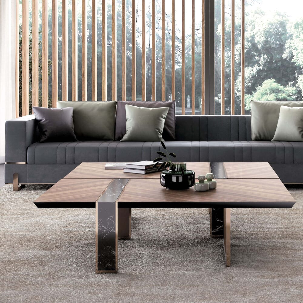 new arrivals, contemporary veneered coffee table with dark inserts