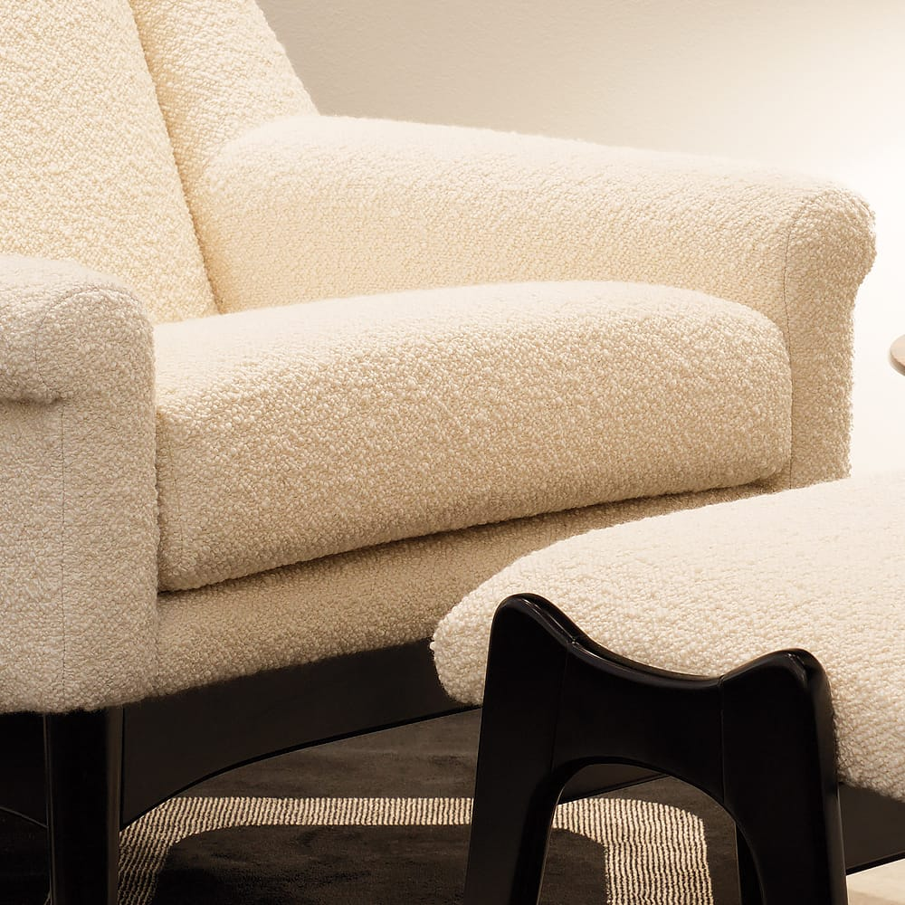 Contemporary-Italian wool fabric Armchair Footstool