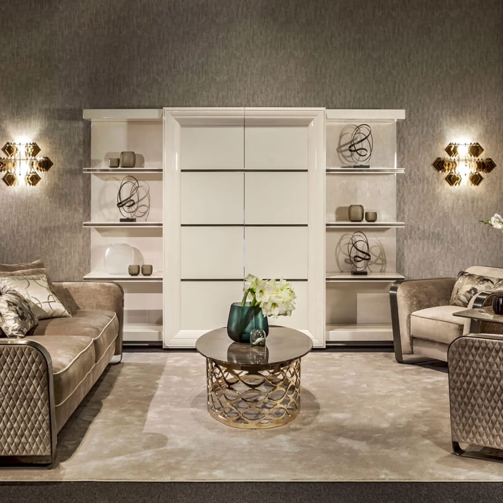 statement furniture, Italian leather cabinet and shelves, sliding doors, concealed TV, closed