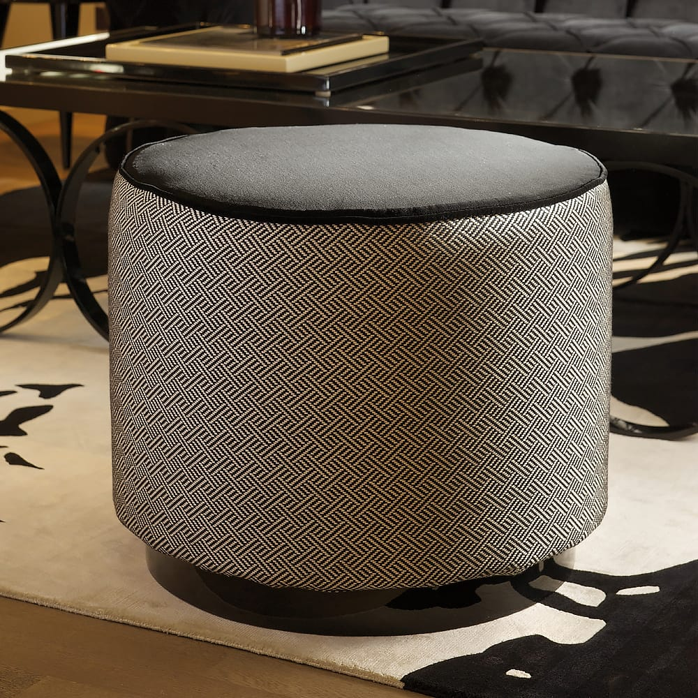 Contemporary patterned fabric Upholstered Pouffe