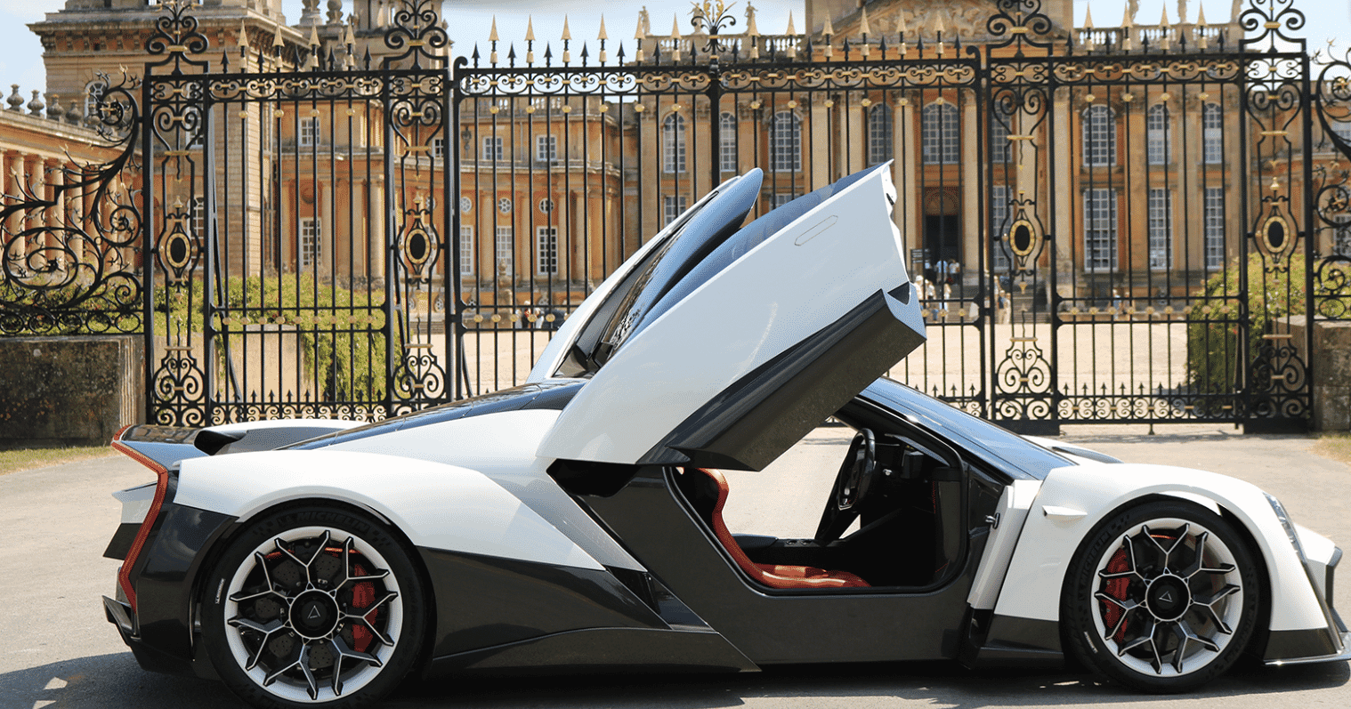 Dendrobium all electric hypercar at gates of Blenheim Palace, Salon Privé 2018