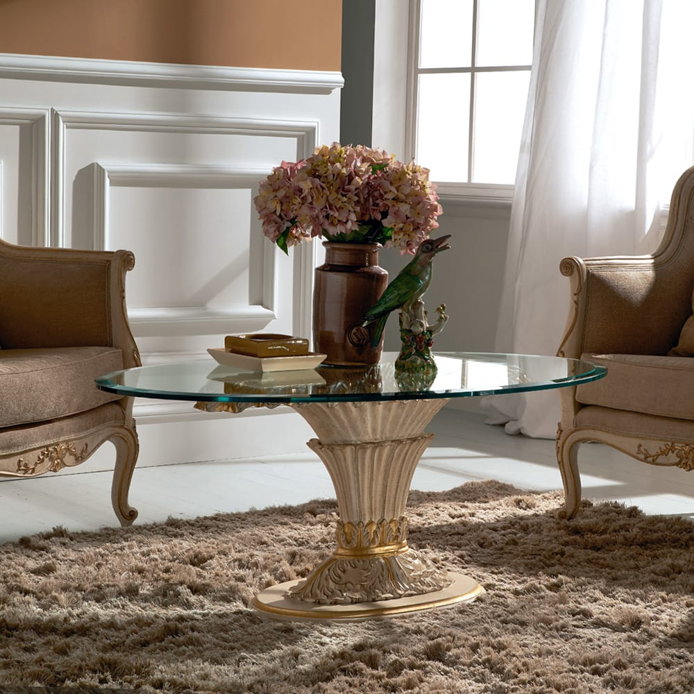 Forence Collection luxury furniture, Italian pedestal style coffee table, ornate carved base with glass top