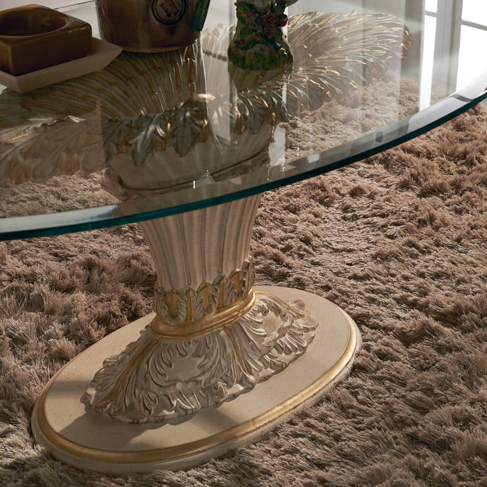 Florence Collection luxury furniture, Italian pedestal coffee table, glass top, looking down onto ornate carved base