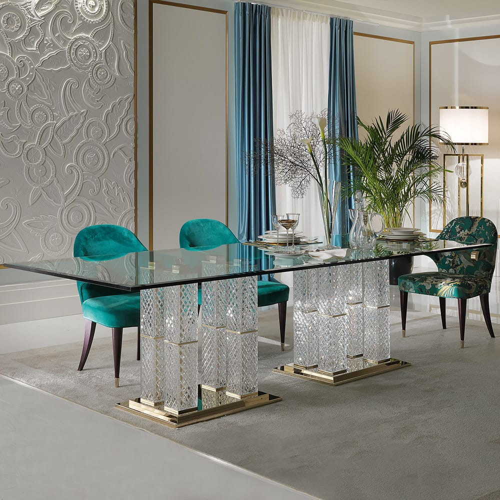 glass dining table cut glass pillar legs meet the designers