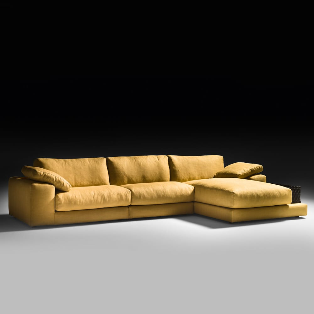 Mustard yellow linen modular sofa with chaise corner, autumn arrivals