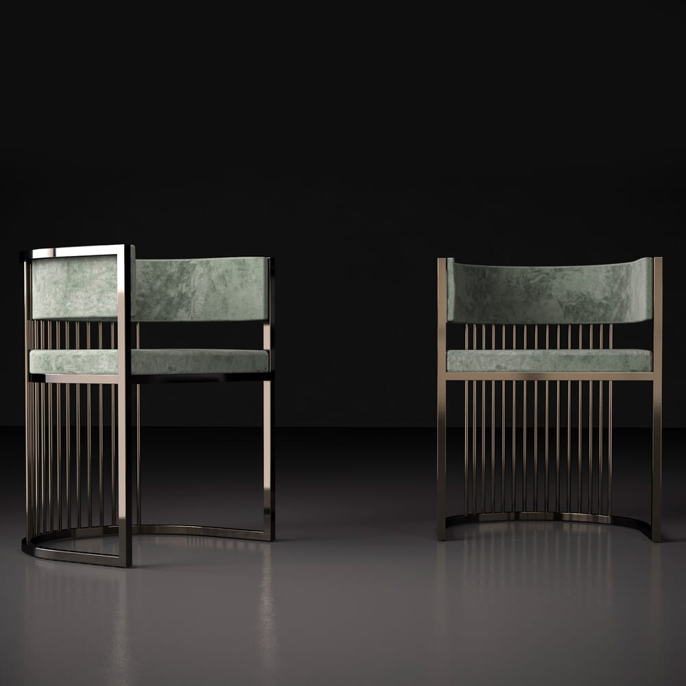 new arrivals, modern metal and green velvet dining chair
