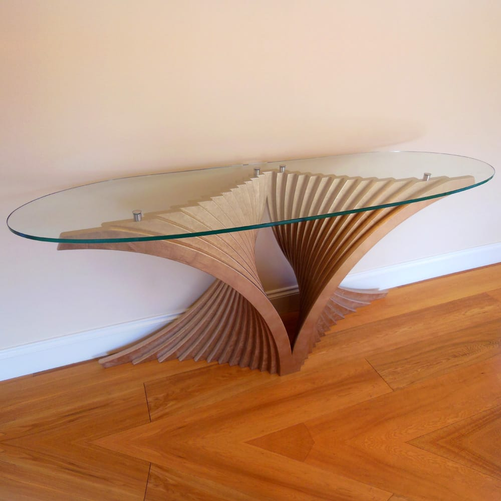 Impress the guests, modern console table, curved wood fan-shaped base with oval clear glass top