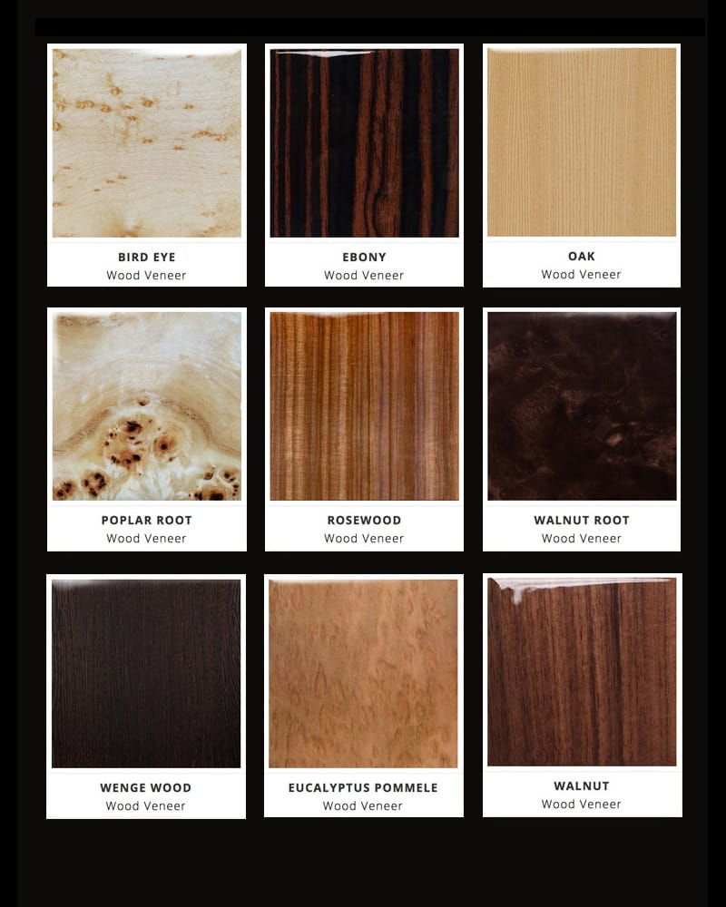 woods veneers finishes