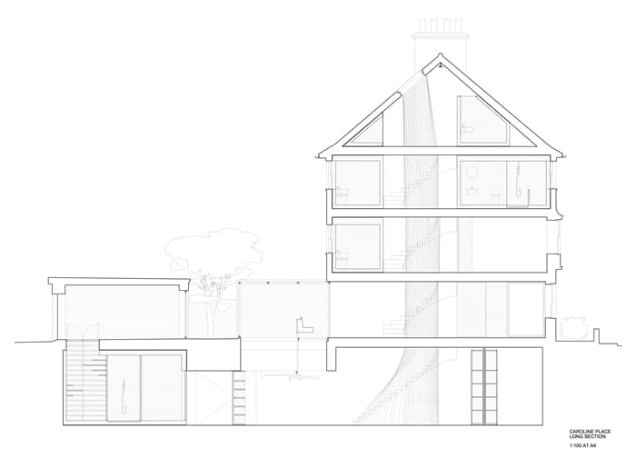Flexible house plans, cross section showing 5 storeys and stairwell, RIBA Awards 2018