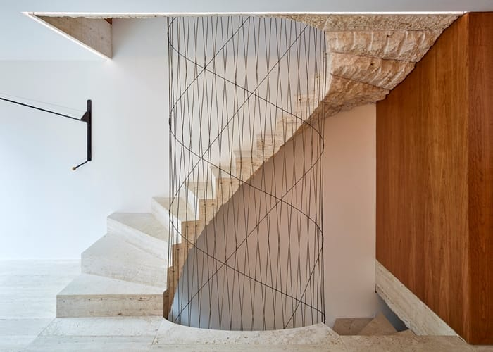 Flexible House 5 storey stairwell with web of wire threads, RIBA Awards 2018