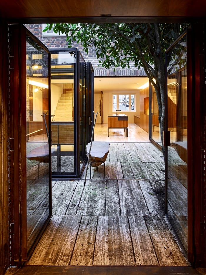 Flexible House rear extension incorporating an existing tree and wooden decking RIBA Awards 2018