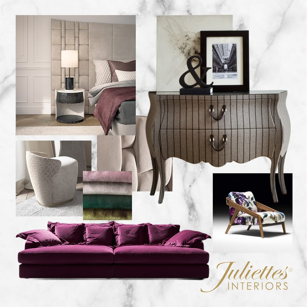 Interior Design Course, mood board with luxury furniture and fabrics