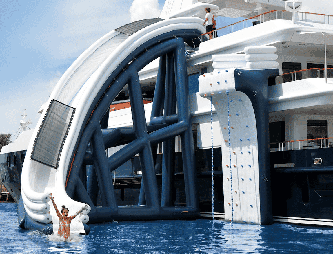 Yacht toys, super yacht with inflatable twisting slide and climbing wall