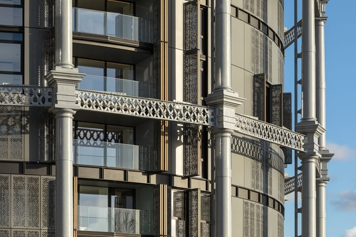 Gasholders exterior showing cast iron frames and folding, perforated screens, RIBA Awards 2018