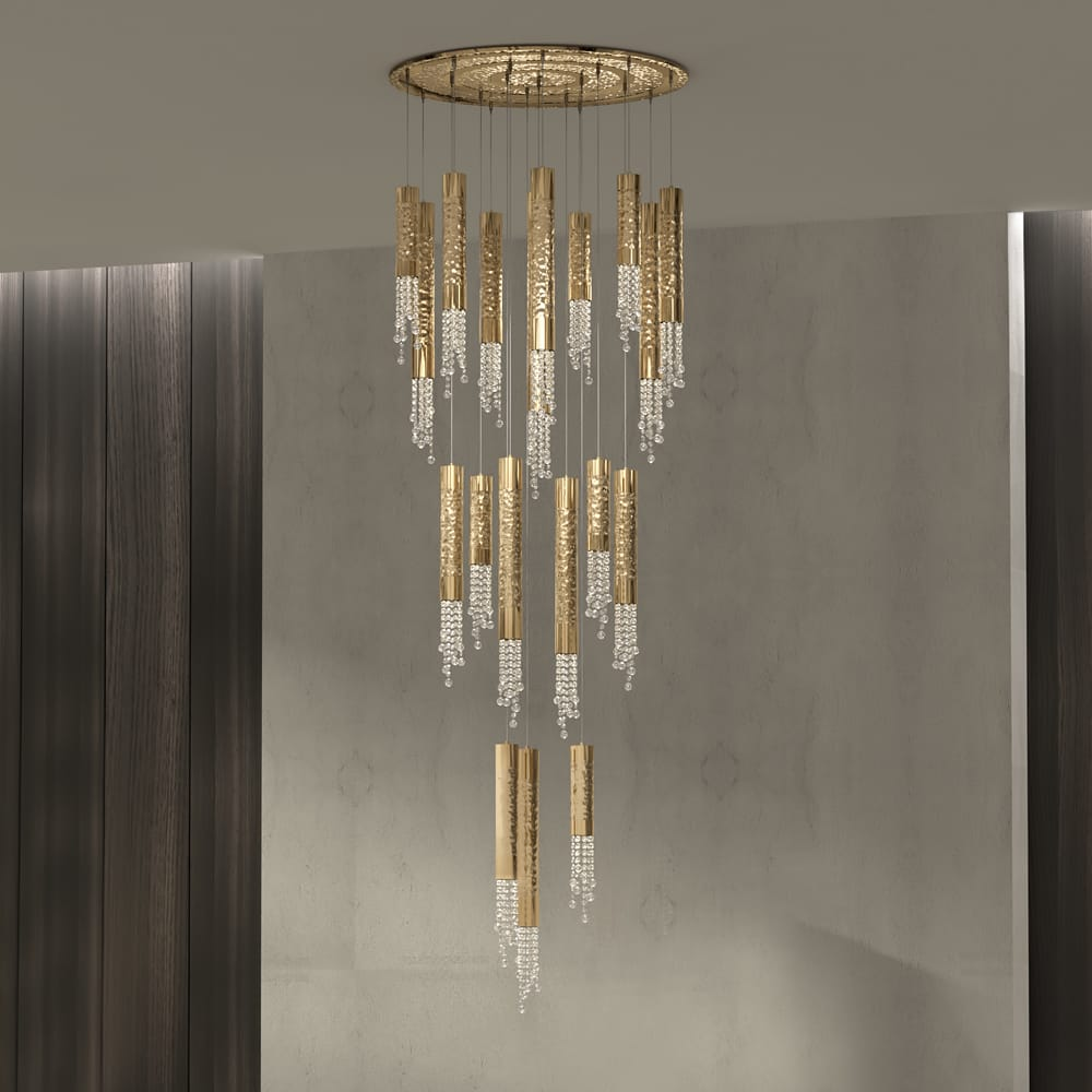 gold plated contemporary staircase chandelier