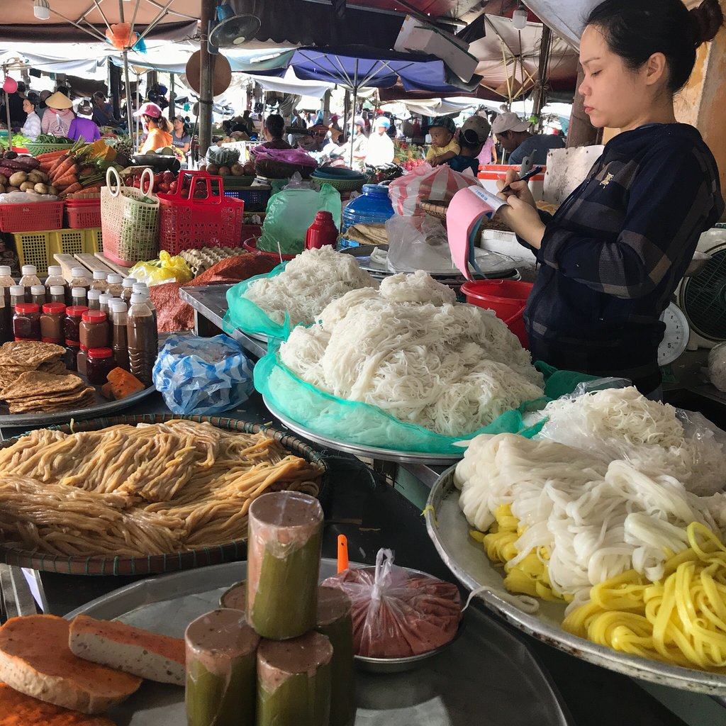 Vietnam, cookery class, shopping at the local market, noodle stall