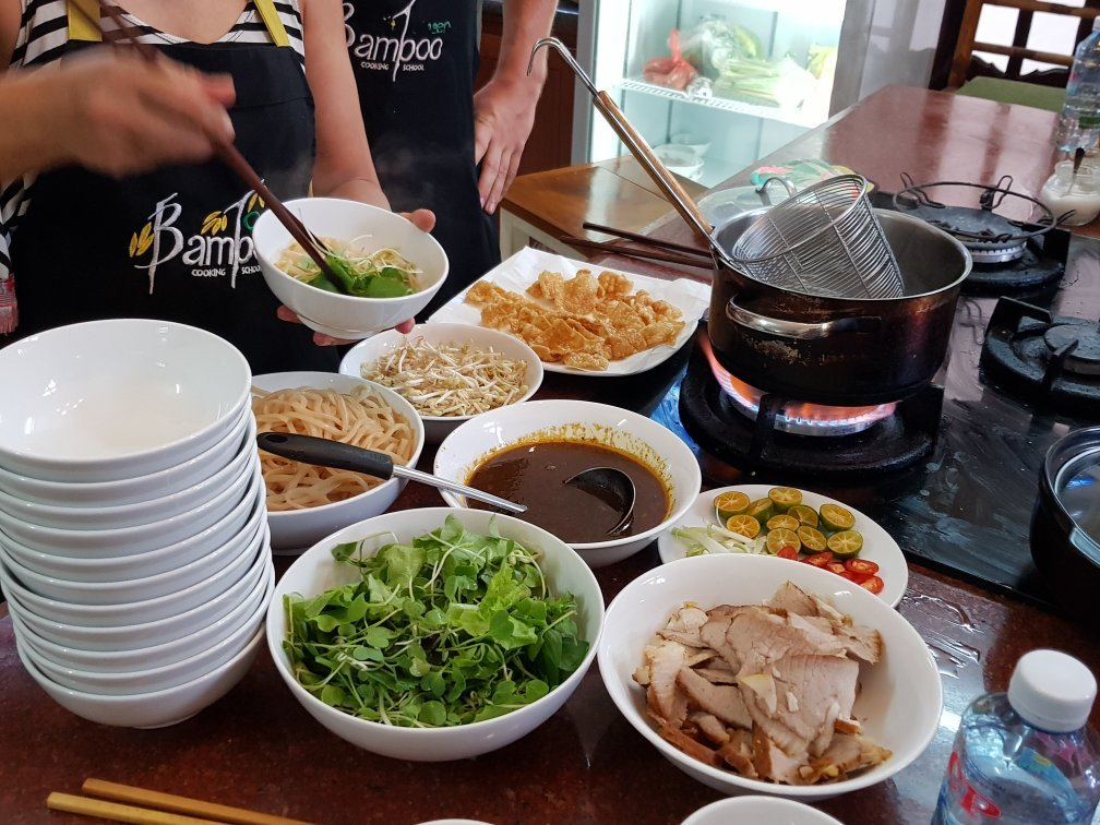 Vietnam, cookery class, range of fresh ingredients