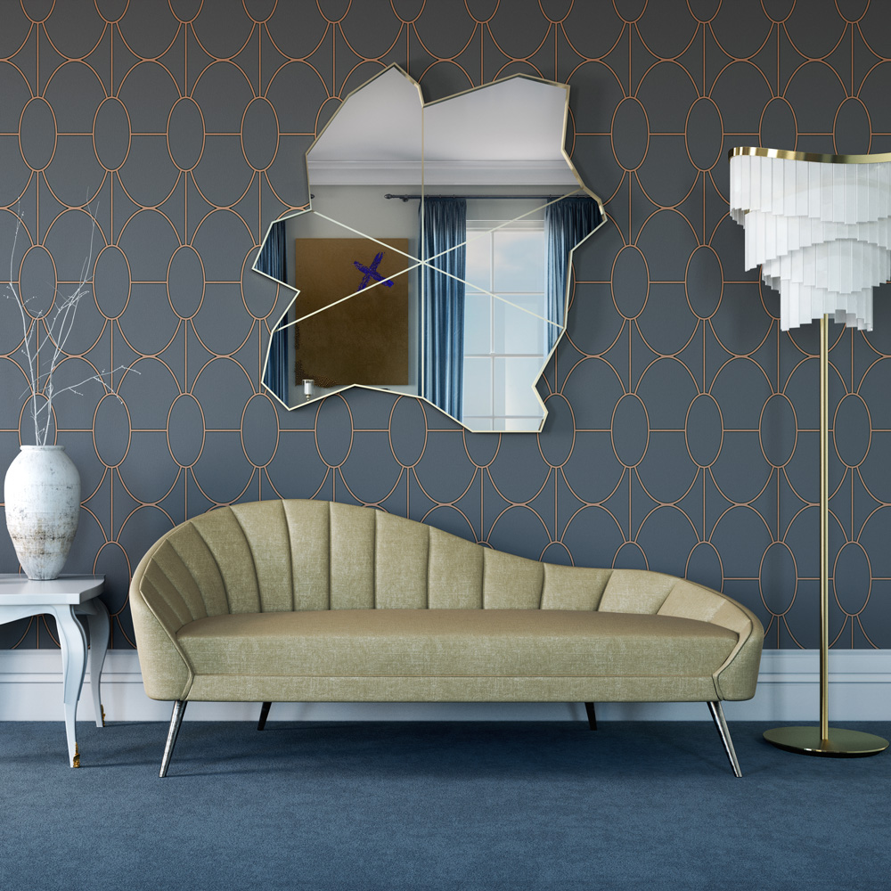 Impress the guests, contemporary chaise longue, curved, wave shaped back, upholstered in gold coloured fabric