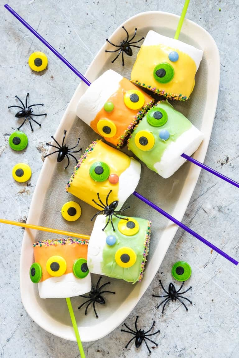 Halloween decor, monster marshmallows on sticks