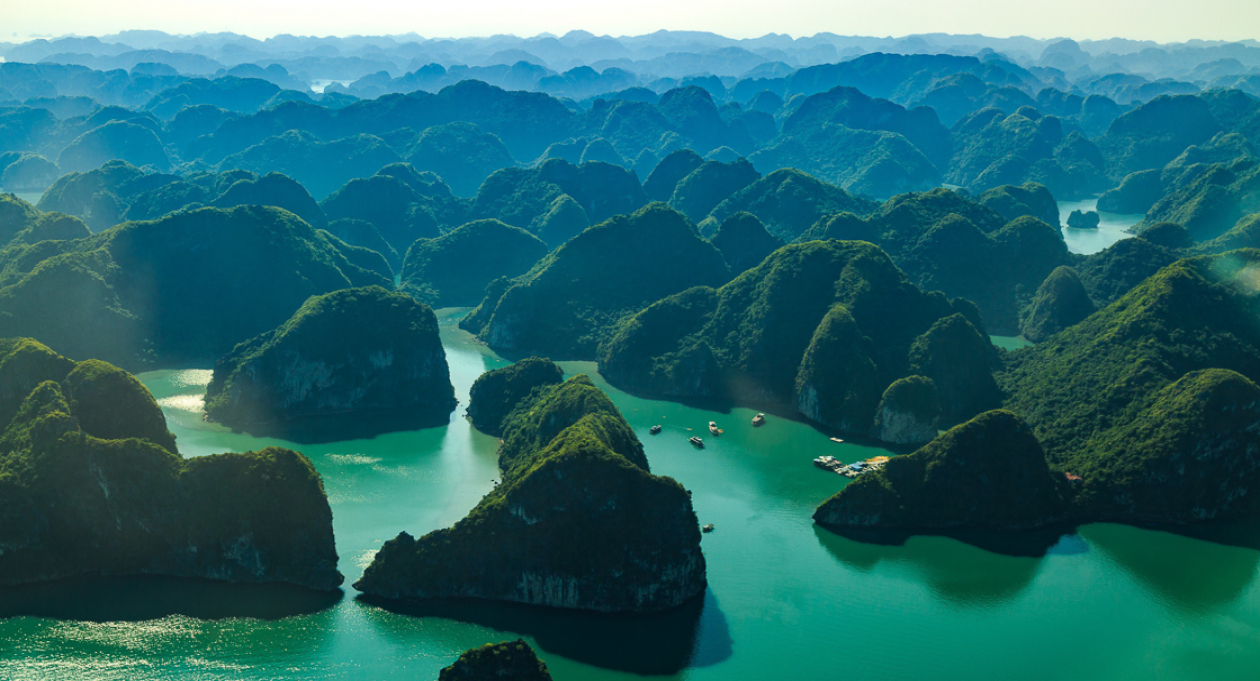 Vietnam, Halong Bay, aerial view